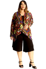 Paisley Print Open Front Cardigan