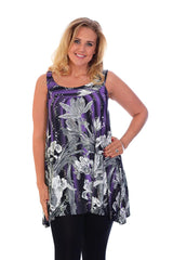 1123 Purple Flower Print Sequin Sleeveless Top