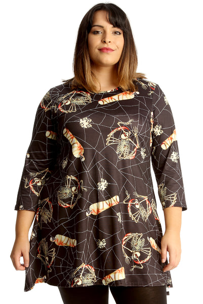 Mummy Spider & Web Print Swing Top