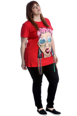 Graphic Print Applique T-Shirt