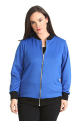 3190 Royal Blue Plain Bomber Jacket