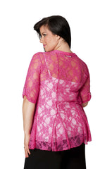 3002 Cerise Diamonted Flower Lace Cardigan