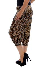 7092 Brown Cropped Leopard Print Ali Baba