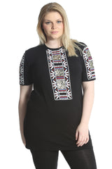 Embroidered Print Sequin Tunic