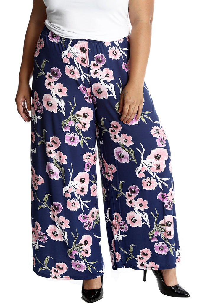 Bold Floral Print Palazzo Trouser