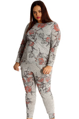 8039 Grey Floral Print Tracksuit
