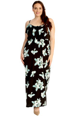 Frill Top Lily Print Maxi Dress