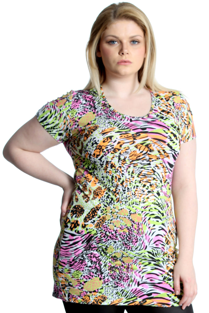 1167 Yellow Nouvelle New Womens Top Plus Size Ladies Neon Summer Print Tunic Party Dress