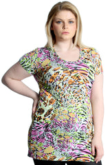 Nouvelle New Womens Top Plus Size Ladies Neon Summer Print Tunic Party Dress ...
