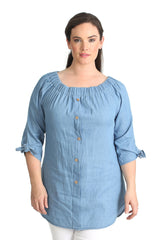 1438 Light Blue Off Shoulder Bardot Button Top