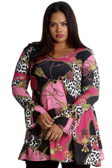 1181 Pink Abstract Animal Print Tunic