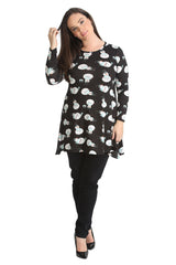 1435 Black Snowman Print Swing Top