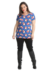 1433 Blue Penguin Print Tunic Top 1