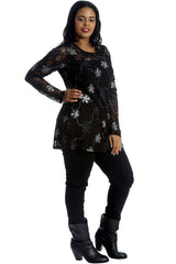 Floral Foil Lace Long Sleeve Top
