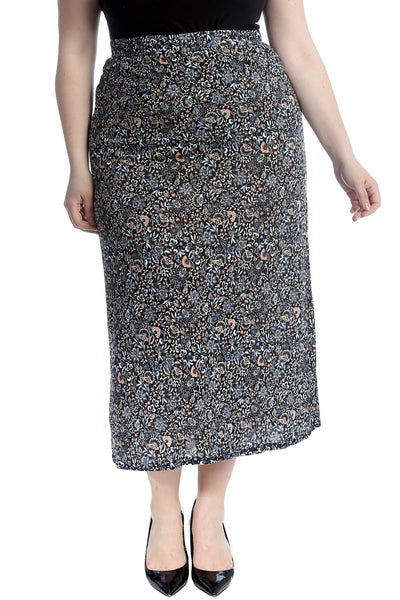 Multi Floral Print Mid Calf Skirt