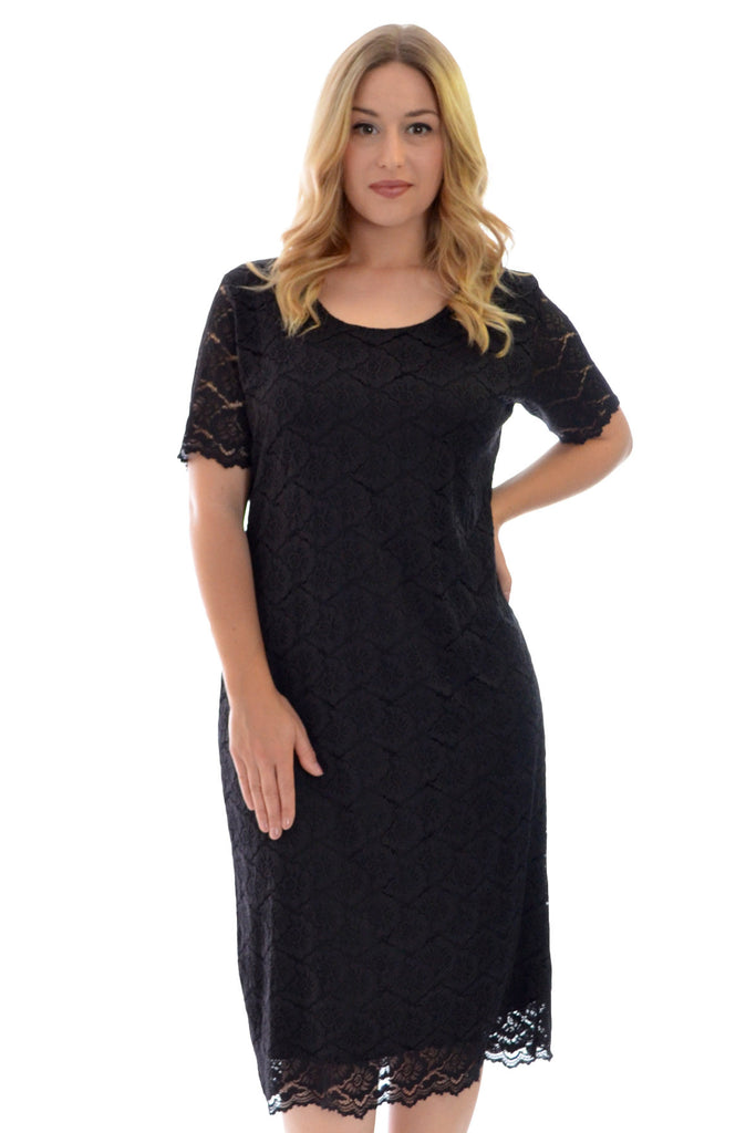 2119 Black Floral Lace Midi Dress