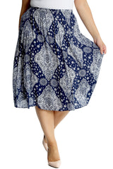 5028 Navy Blue Moroccan Tile Print Skirt
