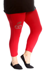 Cherry Stud Cropped Leggings