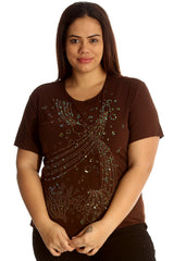1516 Brown Embroidery Sequin Detail T Shirt