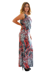 2061 Red Animal Print Toga Dress