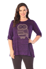 1319 Purple Studded Owl Tunic Top
