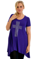 Cross Metallic Stud A-Line Top