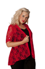 3002 Red Diamonted Flower Lace Cardigan