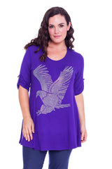 1316 Black Eagle Stud Button On Sleeve Top