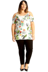 Jungle Print Cold Shoulder Top