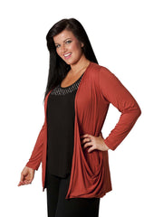 3001 Mocha Drop Pocket Cardigan