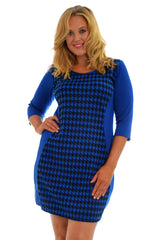 2024 Royal Blue Dogtooth Hourglass Dress