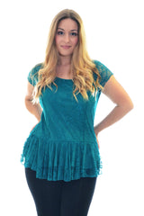 1110 Green Floral Lace Peplum Top