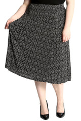 5018 Black Tile Print Maxi Skirt