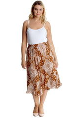 5028 Brown Moroccan Tile Print Skirt
