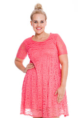 2147 Coral Floral Lace Tunic Dress
