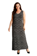 Moroccan Tile Print Maxi Dress