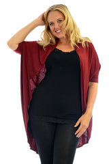 1261 Wine Open Front Batwing Cardigan