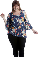 Floral Print Cold Shoulder Bell Sleeve Top