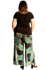 Animal Floral Print Palazzo Trouser