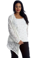 2 in 1 Sequin Floral Lace Cami & Cardigan