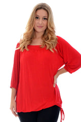 1014 Red Square Neck Tunic Top