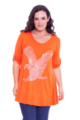 1316 Orange Eagle Stud Top