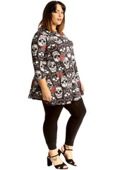 Colored Sugar Skull & Roses Print Top