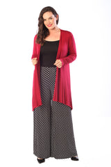 3160 Red Open Front Viscose Cardigan