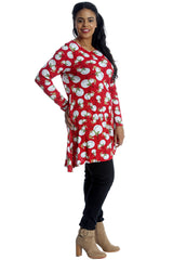 1455 Red Snowman Print Swing Top 1