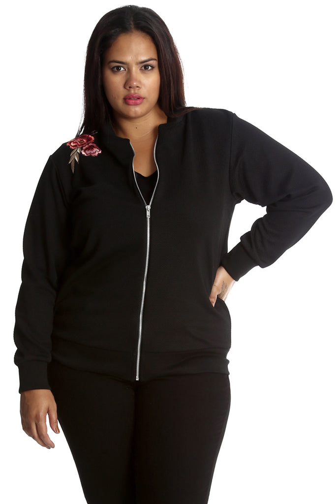 3211 Black Embroidered Floral Patch Bomber Jacket