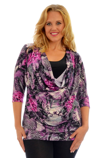 Abstract Print Cowl Neck Top