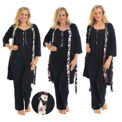 9012 Purple 3in1 Floral Trim PJ Set
