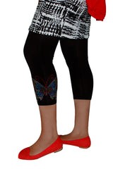 7100 Charcoal Full Tattoo Butterfly Leggings