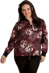 Floral Abstract Print Bomber Jacket